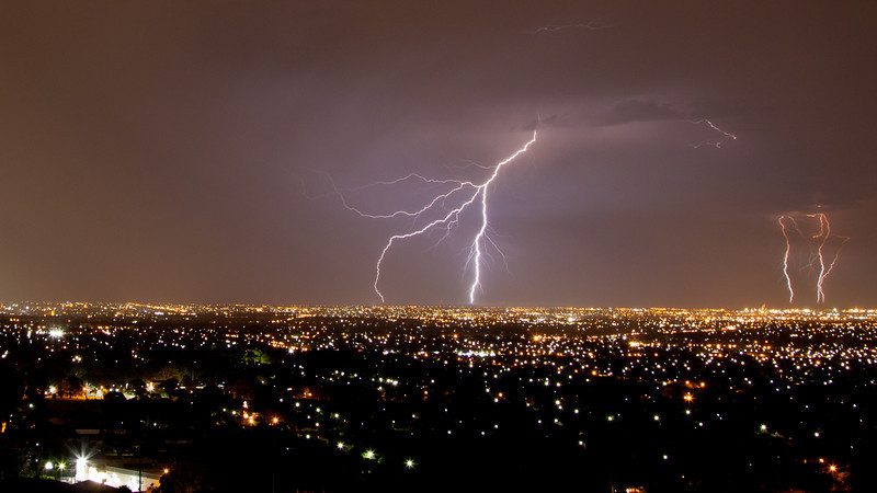 Lightning over Adelaide.